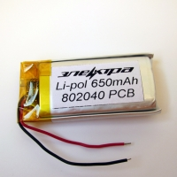 Аккумулятор Li-pol 802040 3.7V 650mAh PCB 15W